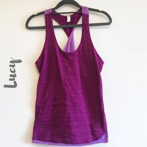 Lucy Small Purple Racerback Tank with Twist Detail